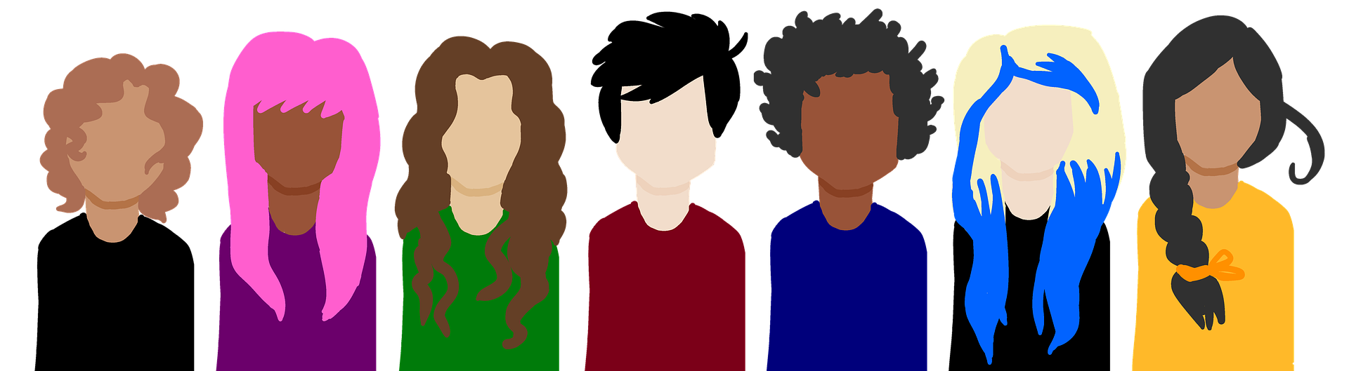 an abstract illustration of diverse characters